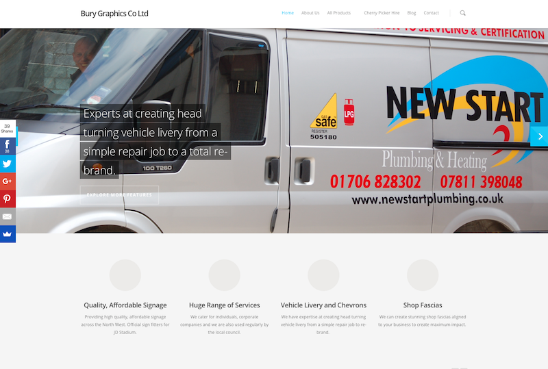 Bury Graphics Website image